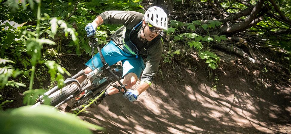 Mountain biker cornering