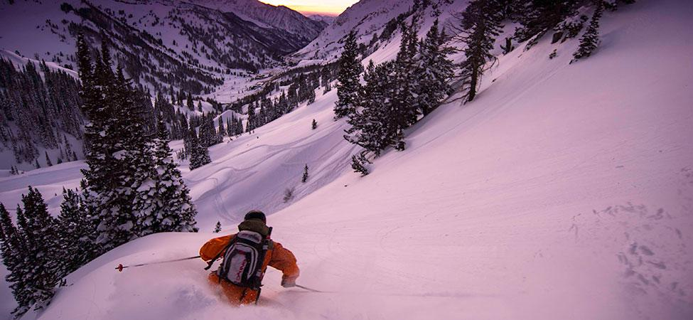 Backcountry skiing in the Wasatch Mountains.