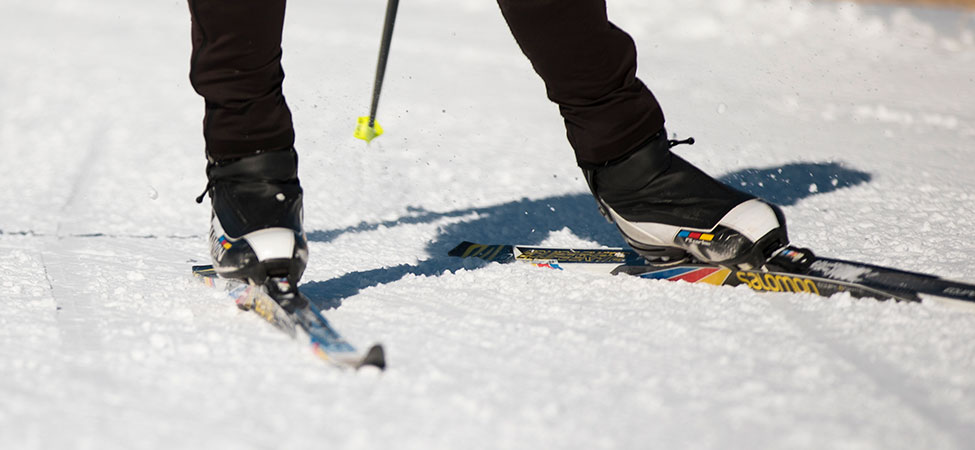 Nordic ski boots on skis on snow