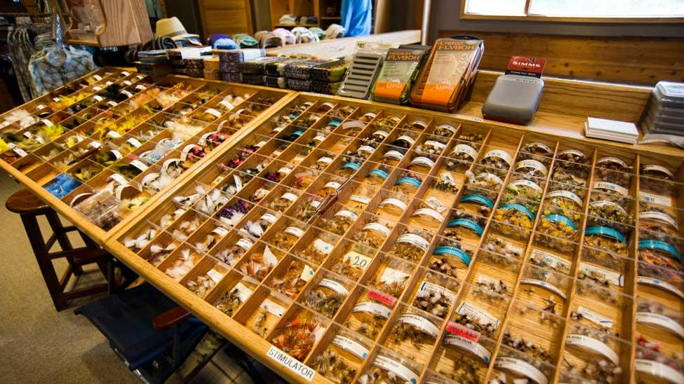 Fly rack at Jans Fly Shop