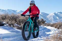 Jans Gear Analyst, Lauren Santisteven, fat biking in Round Valley in Park City, UT