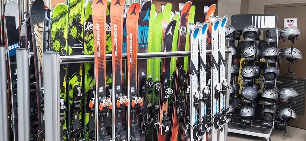 rental skis lined up and ready inside Jans at Park Ave in Park City, UT