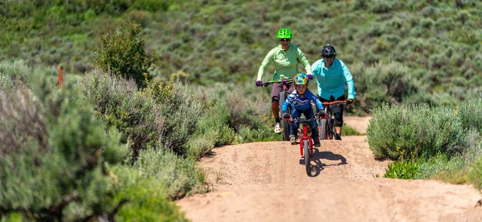 Jans Expert, Scott House and his family, ride mountain bikes in Park City, UT