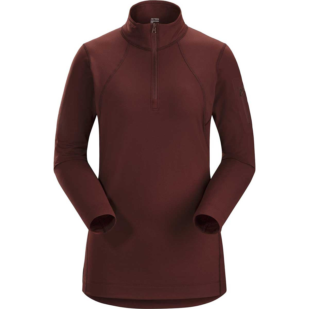 Arcteryx women's RHO LT Zip Neck Top in Flux main view