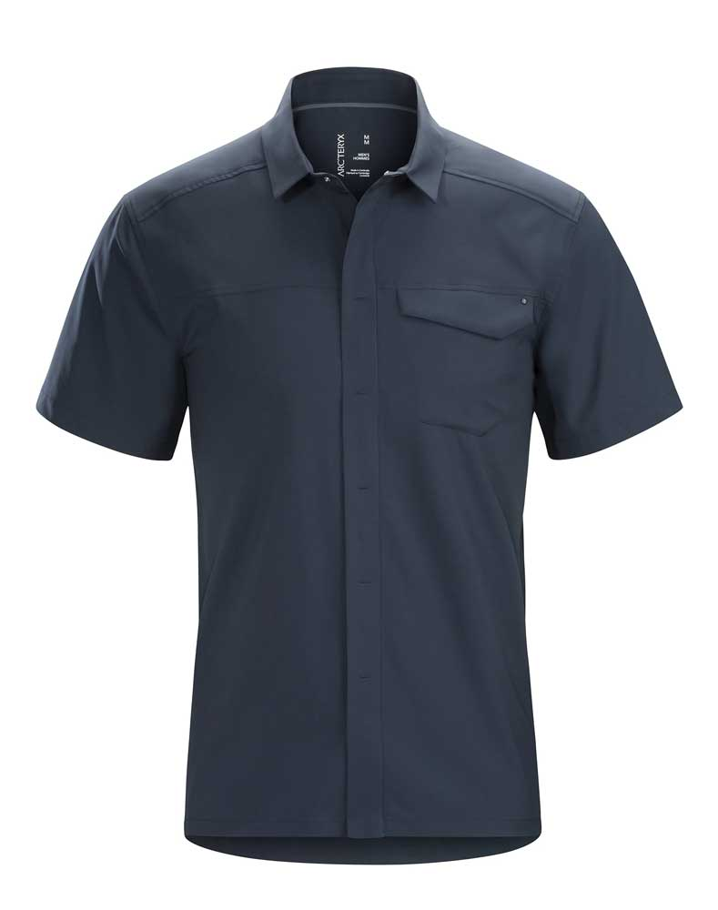 Arcteryx men's Skyline button-up short-sleeved shirt in Tui, or navy