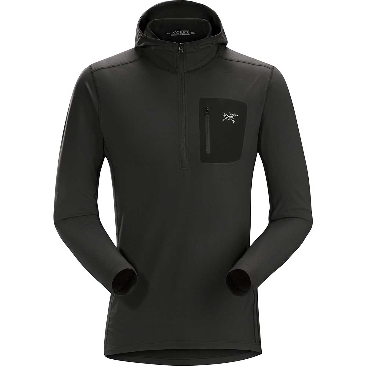 Arcteryx men's Rho Lt Hooded Zip Neck Top in Black front view