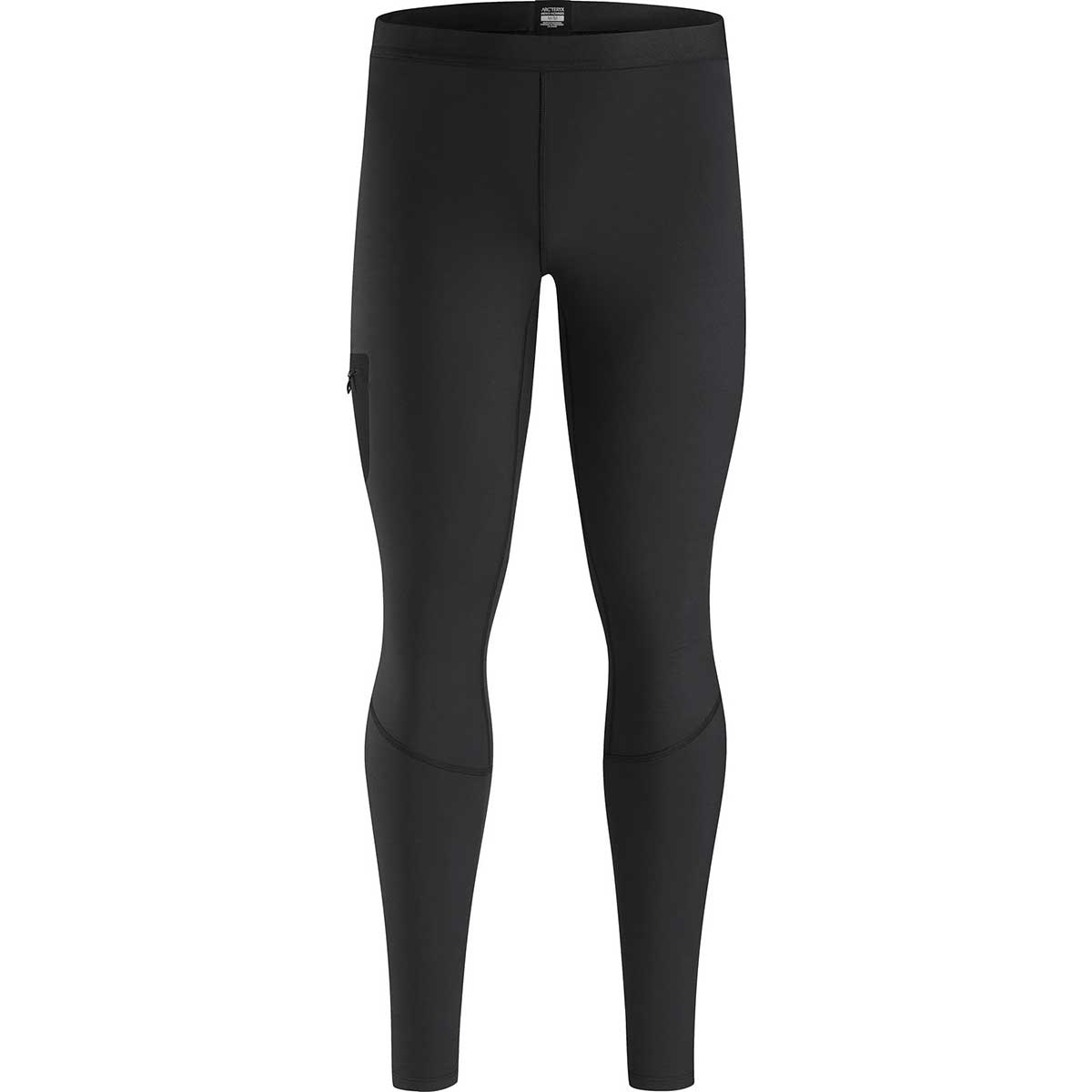 Arcteryx men's RHO Lt Bottom in Black front view