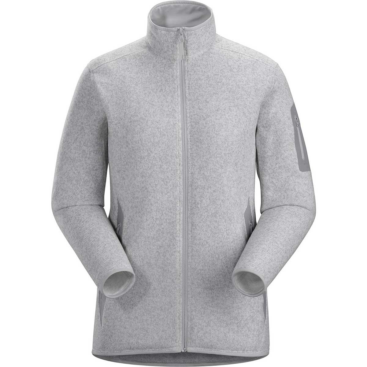 Arcteryx women's Covert Cardigan in Athena Grey Heather front view