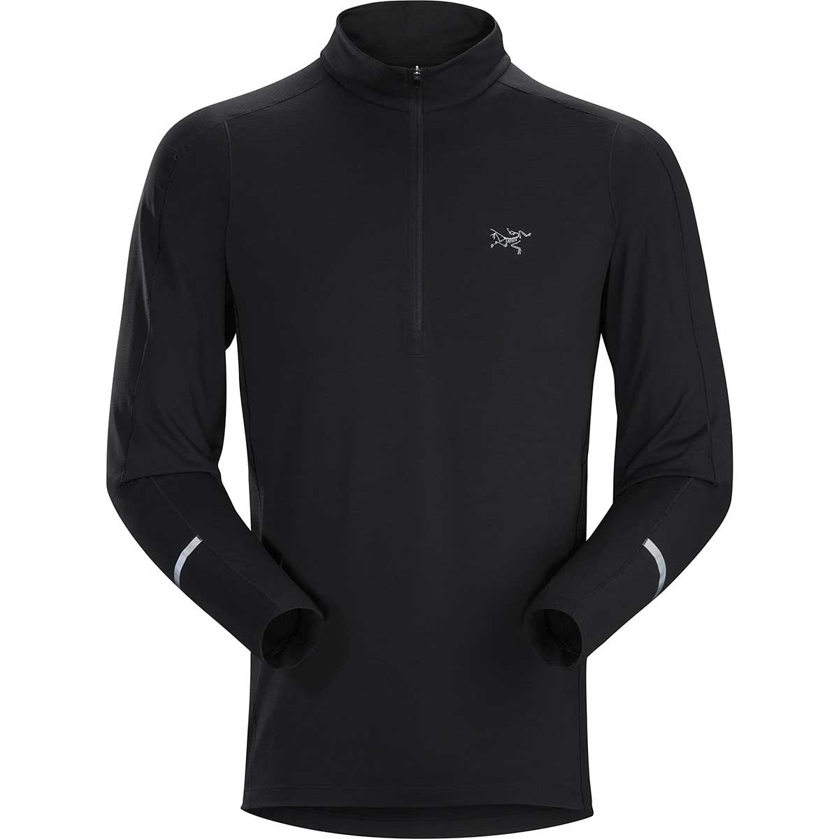 Arcteryx men's Cormac Zip Neck Top in Black front view