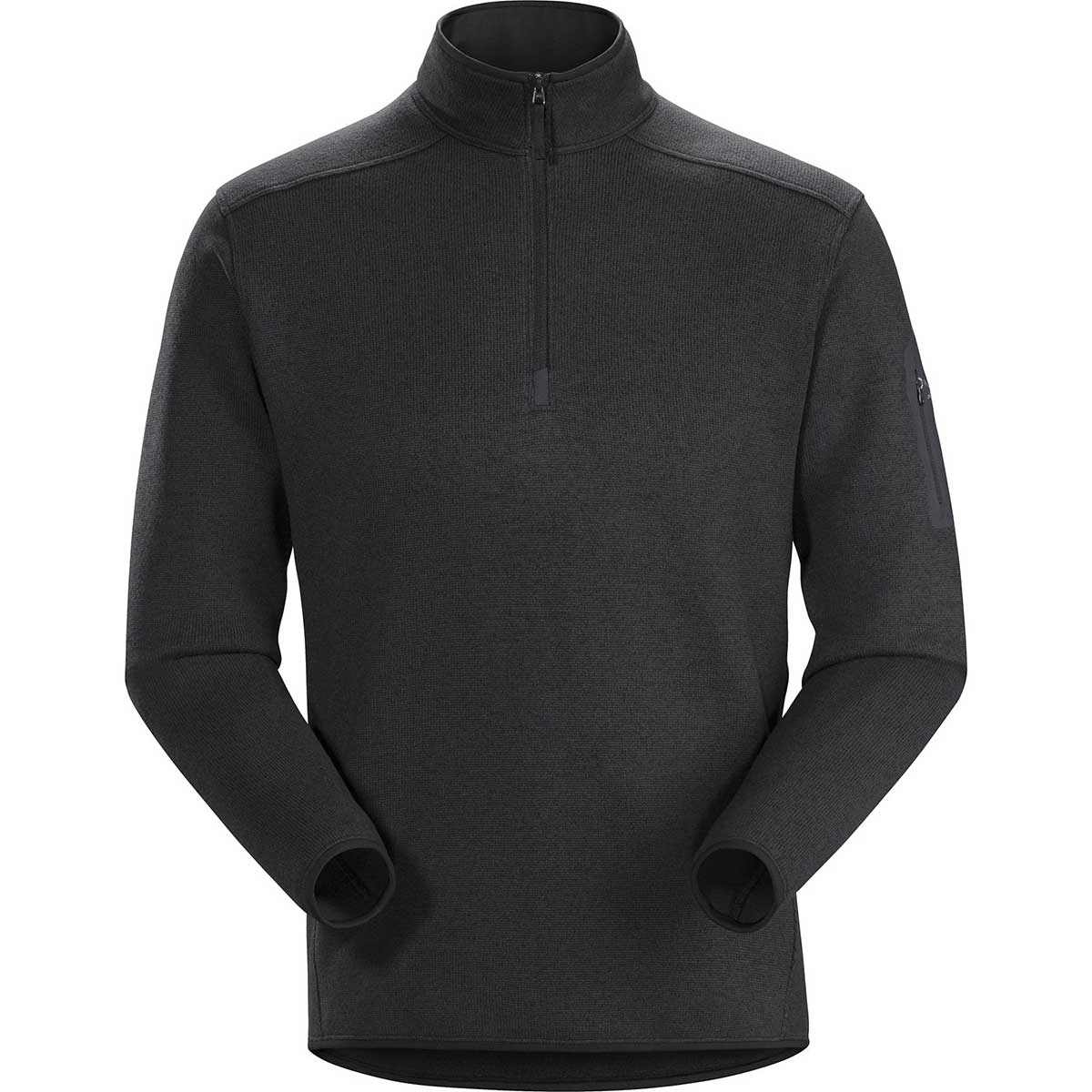 Arcteryx men's Covert 1/2 Zip Pullover in Black Heather front view