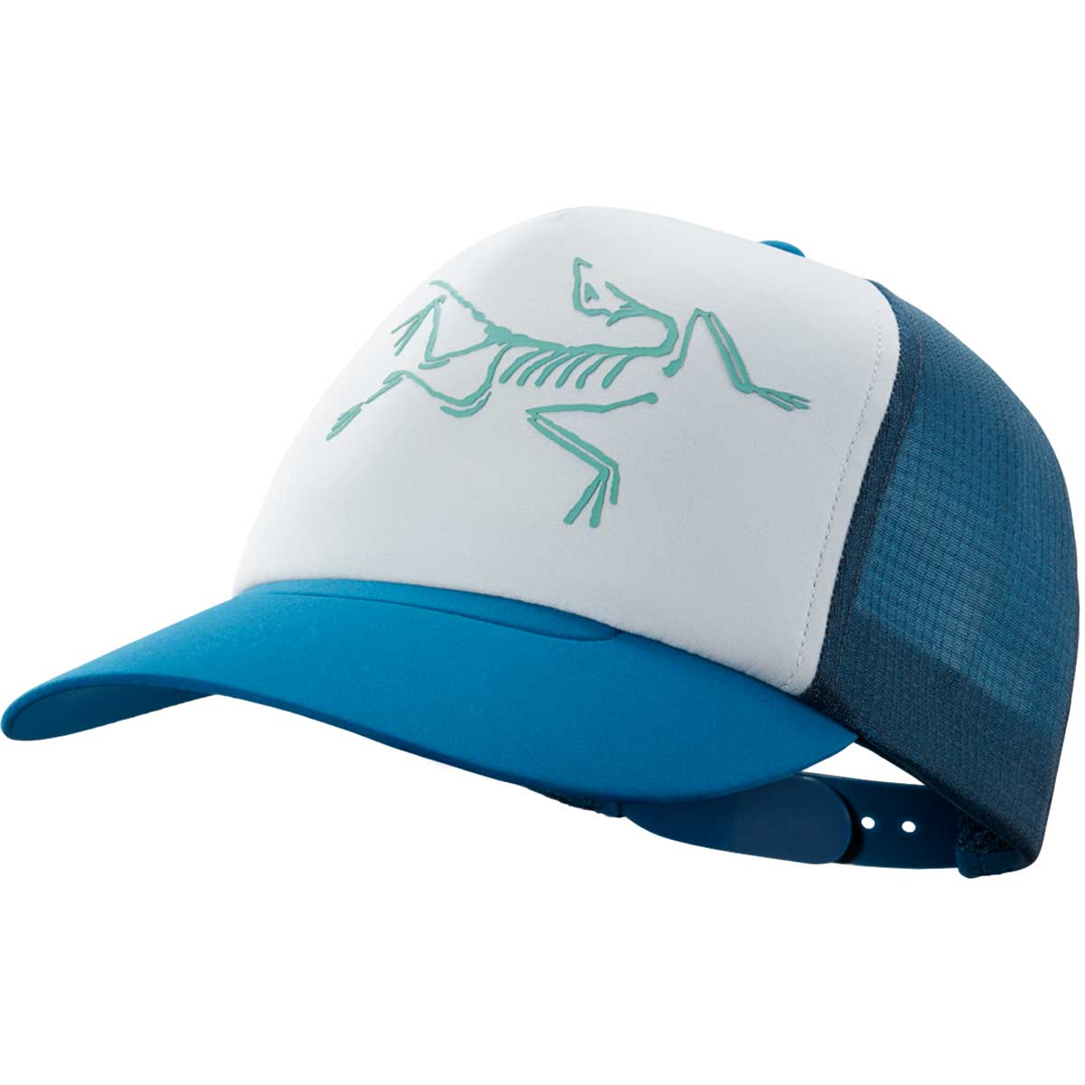 Arcteryx Bird Trucker Hat in Cobalt Sun Delos Grey main view