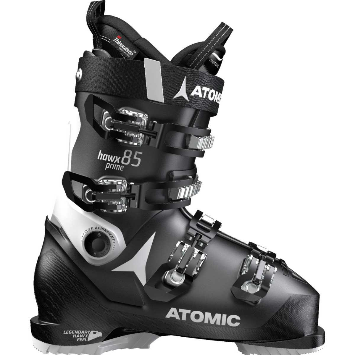 Atomic women's HAWX Prime 85 ski boot in black and white