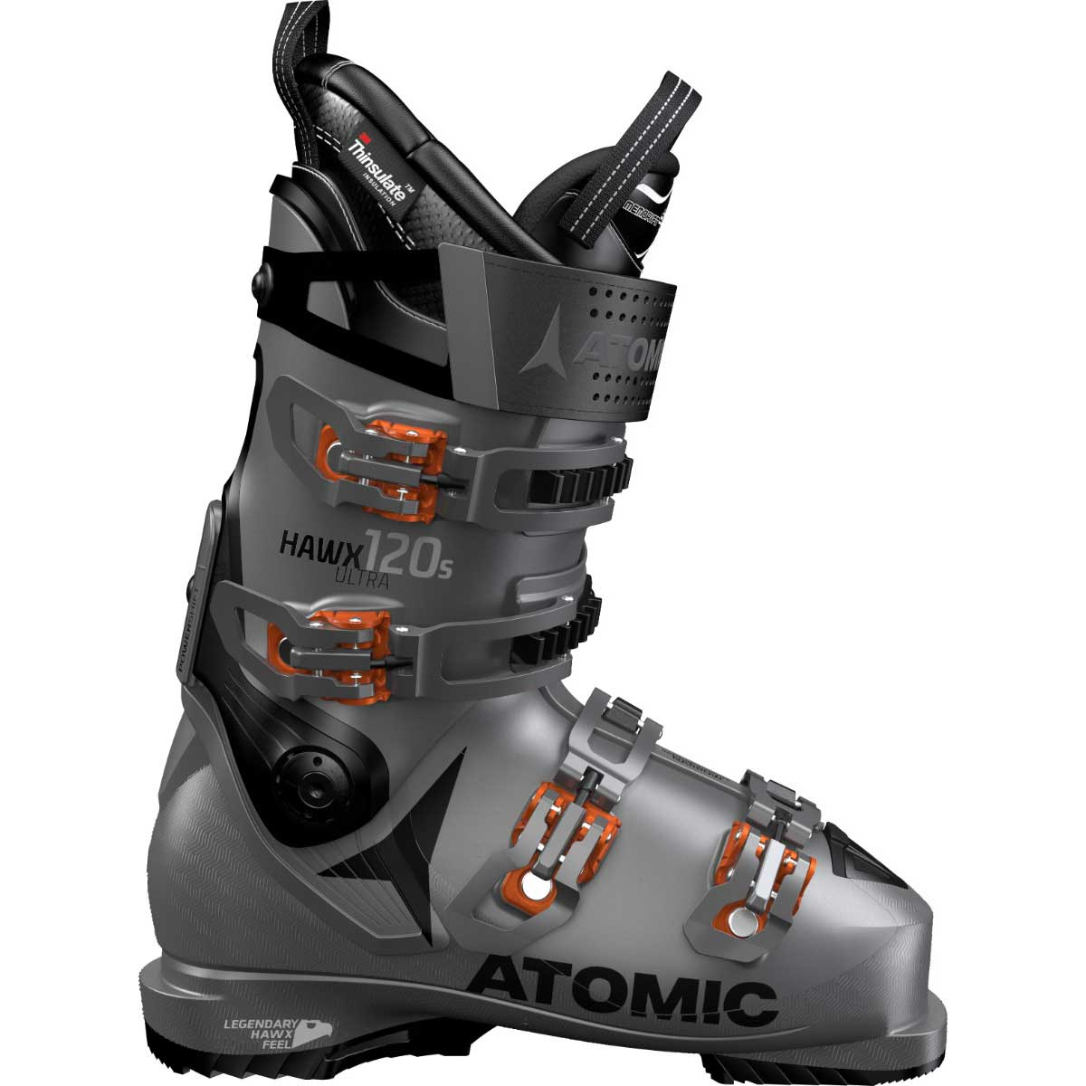 Atomic men's HAWX Ultra 120 S ski boot in anthracite and black