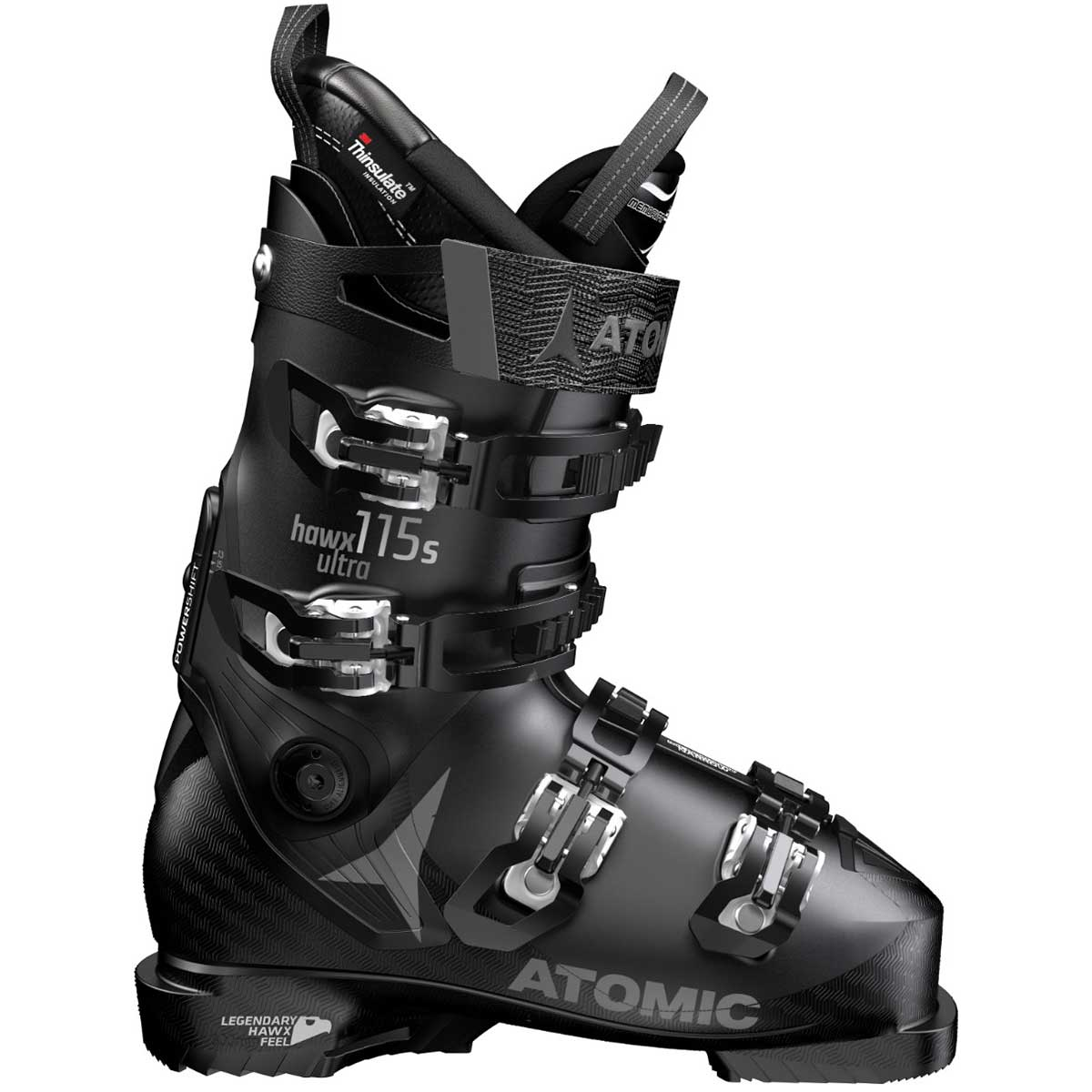 Atomic women's HAWX Ultra 115 S ski boot in black and white