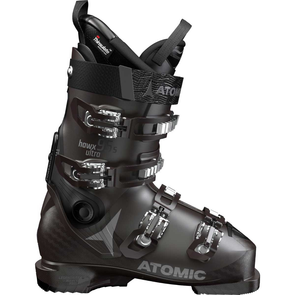 Atomic women's HAWX Ultra 95 S ski boot in black and purple