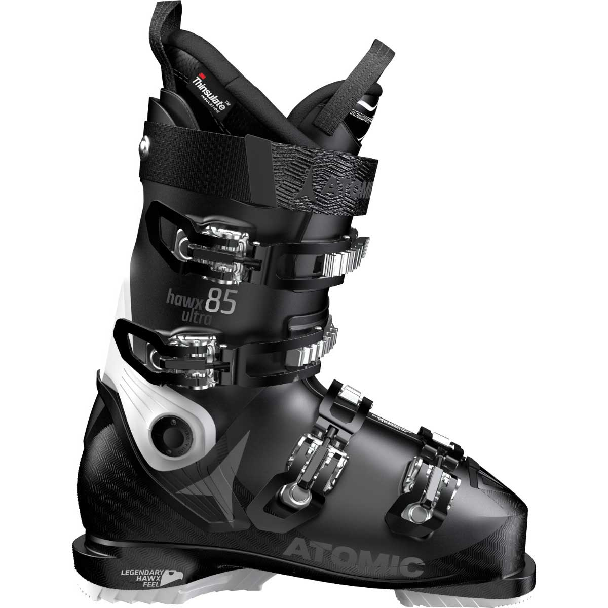 Atomic women's HAWX Ultra 85 ski boot in black and white