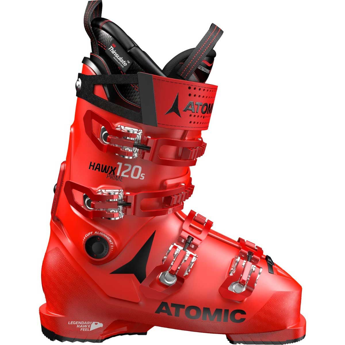 Atomic men's HAWX Prime 120 S ski boot in red and black