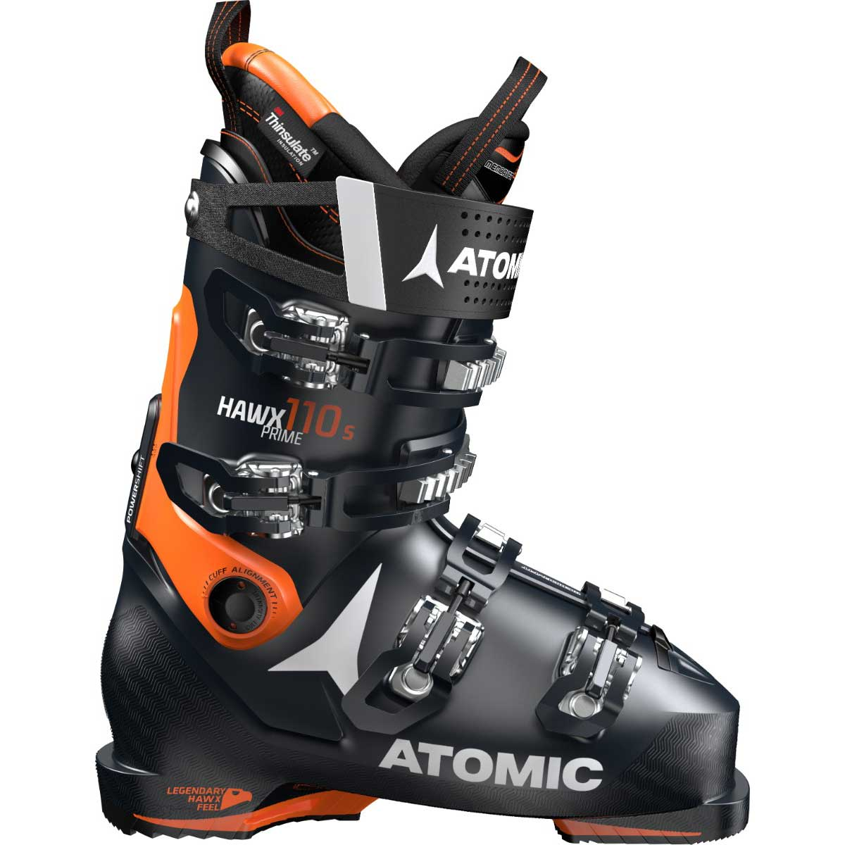 Atomic men's HAWX Prime 110 S ski boot in black and orange