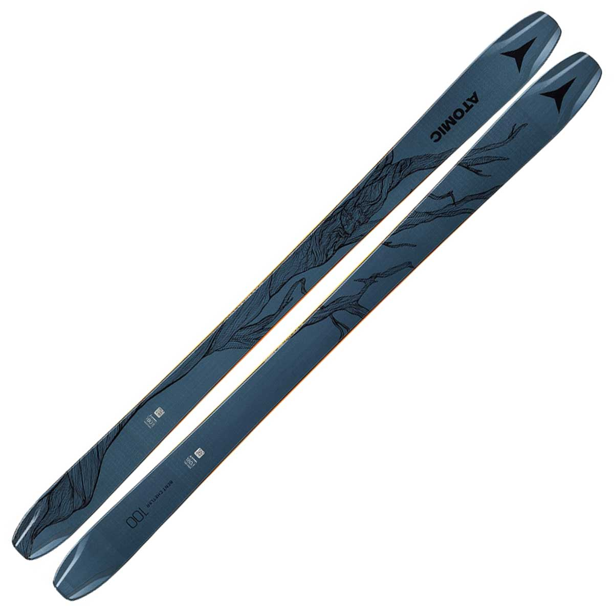 Top of Atomic Bent Chetler 100 skis in Blue