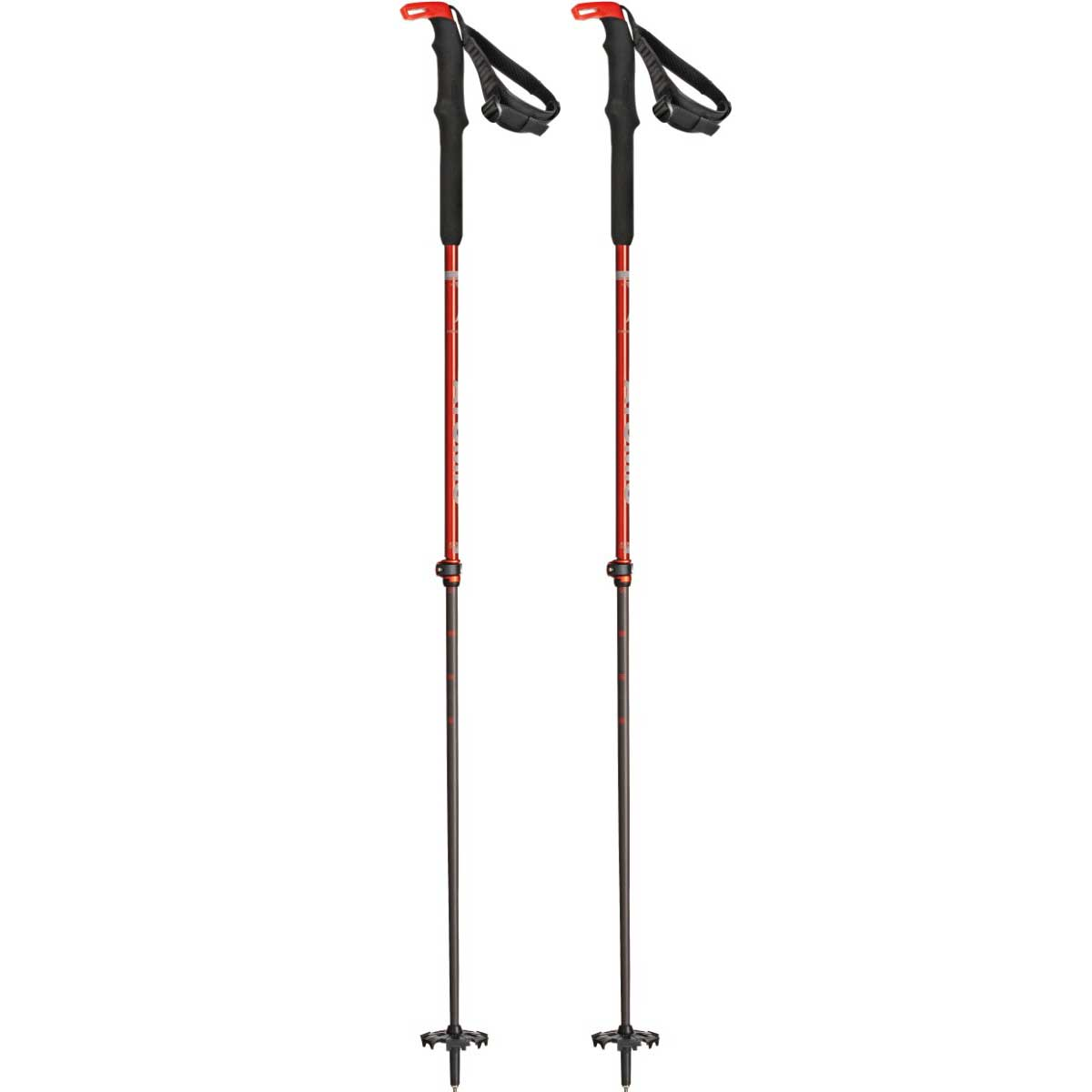 Atomic BCT Touring Carbon SQS telescoping ski poles in Red and Grey