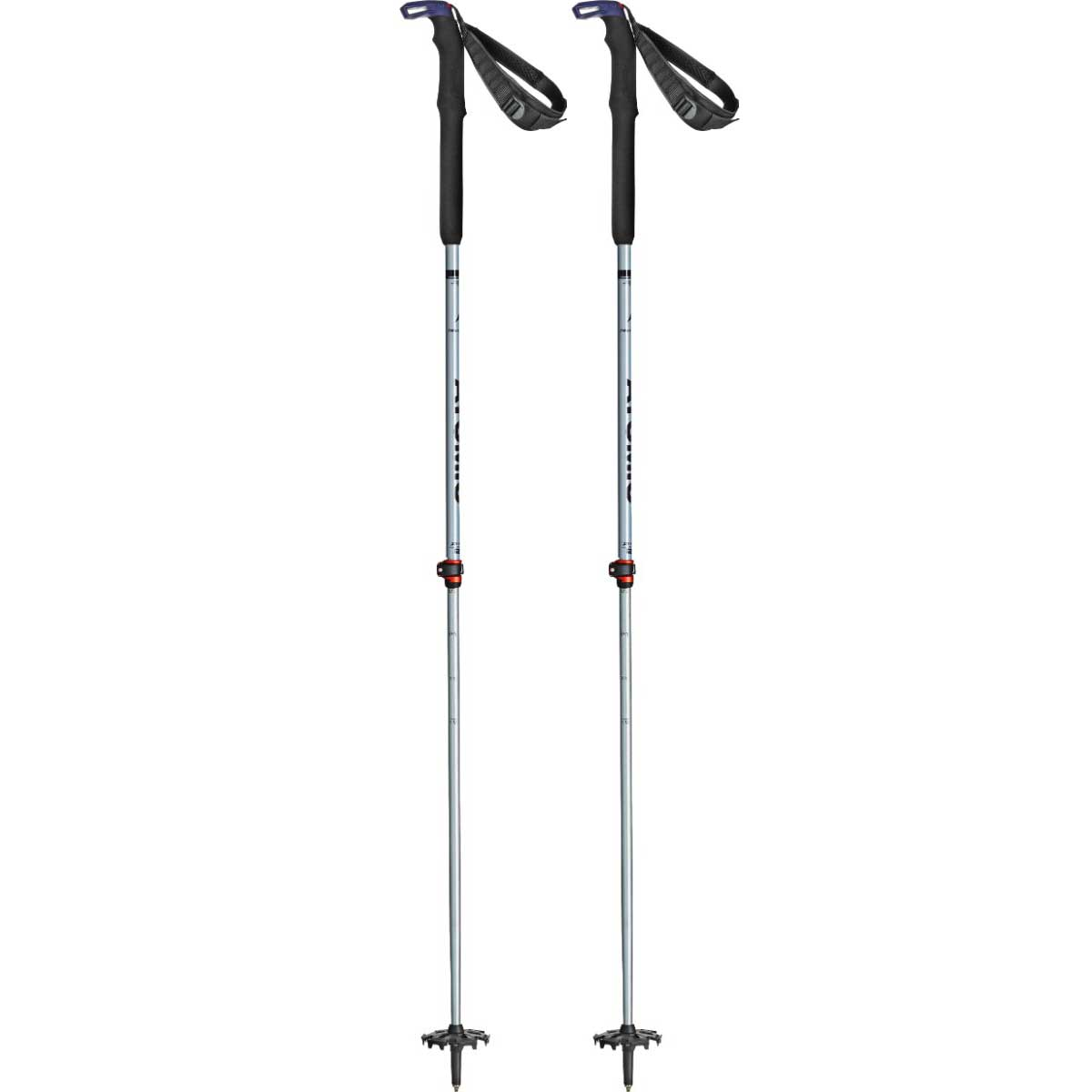 Atomic BCT Touring SQS W telescoping ski poles in Grey Blue and Purple