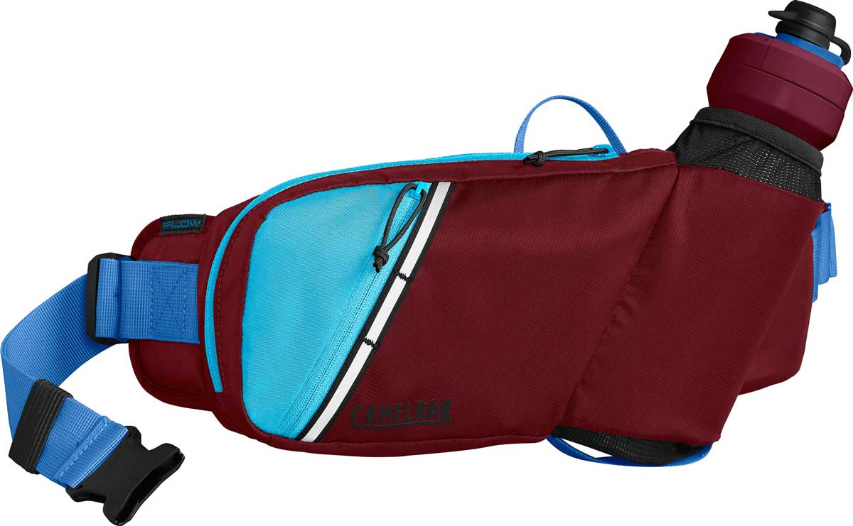 CamelBak Podium Flow belt in Burgundy and Lake Blue