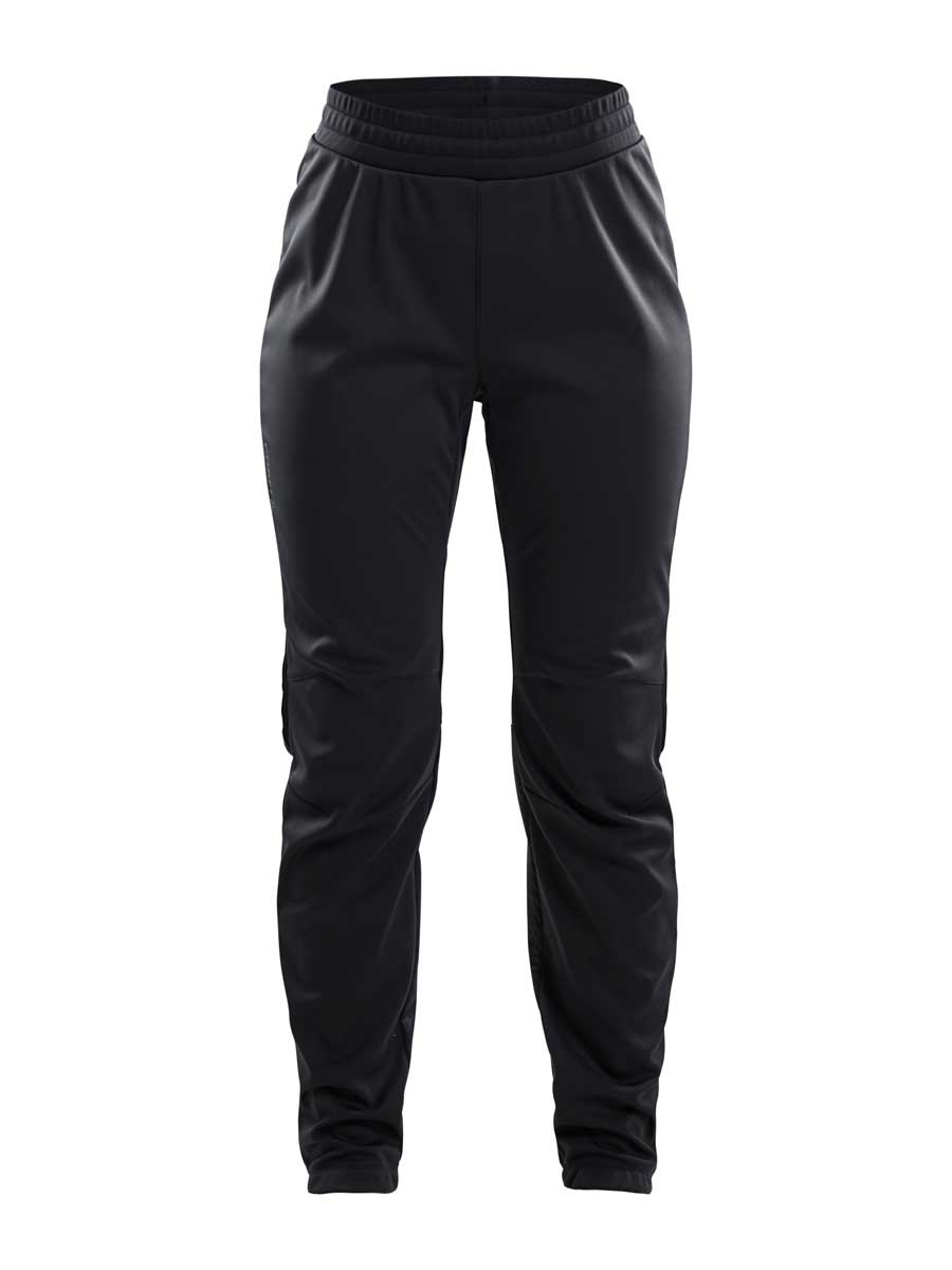 craft women's warm training pants in black and transparent grey