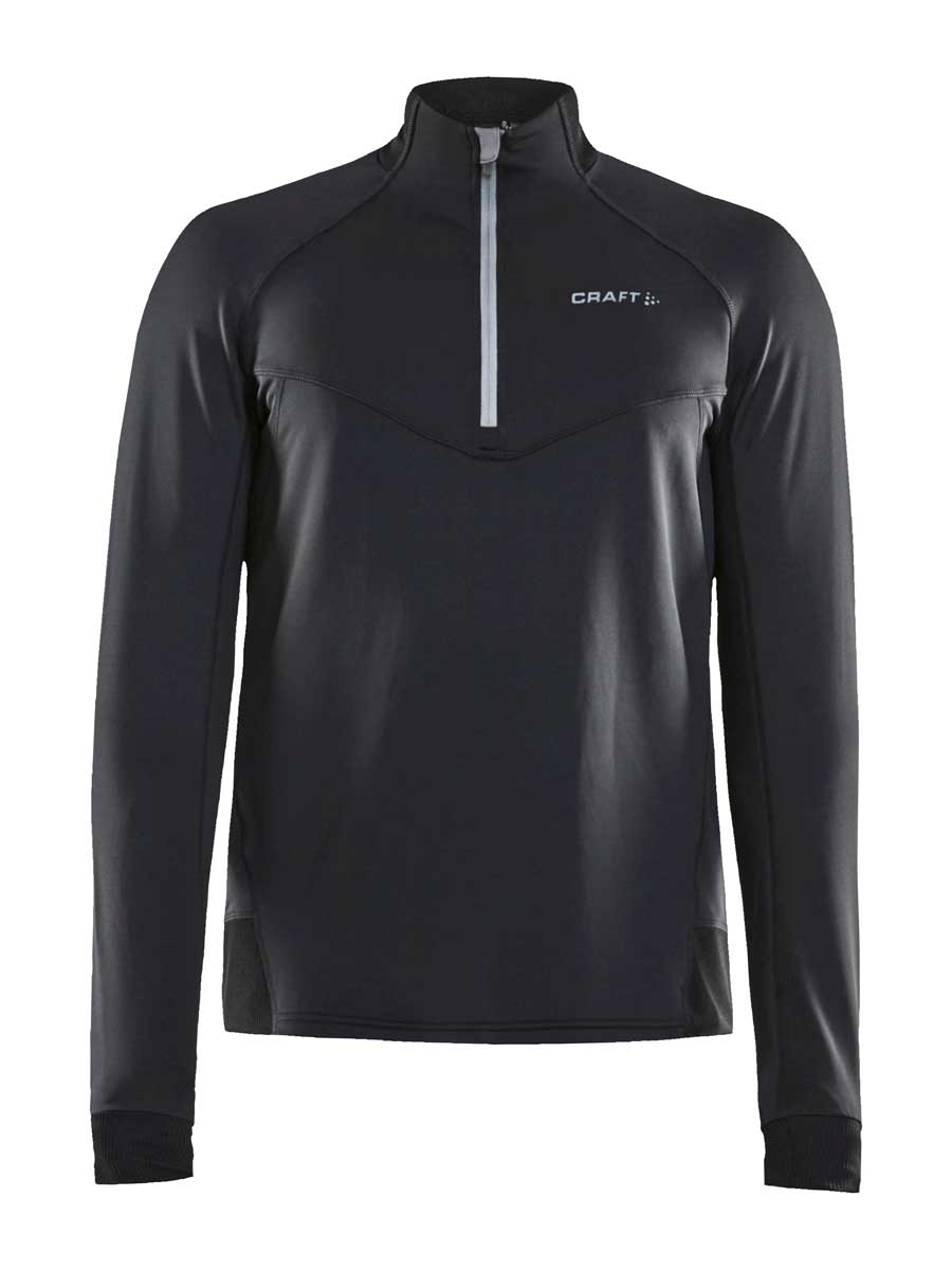 craft men's activity midlayer top in black and monument