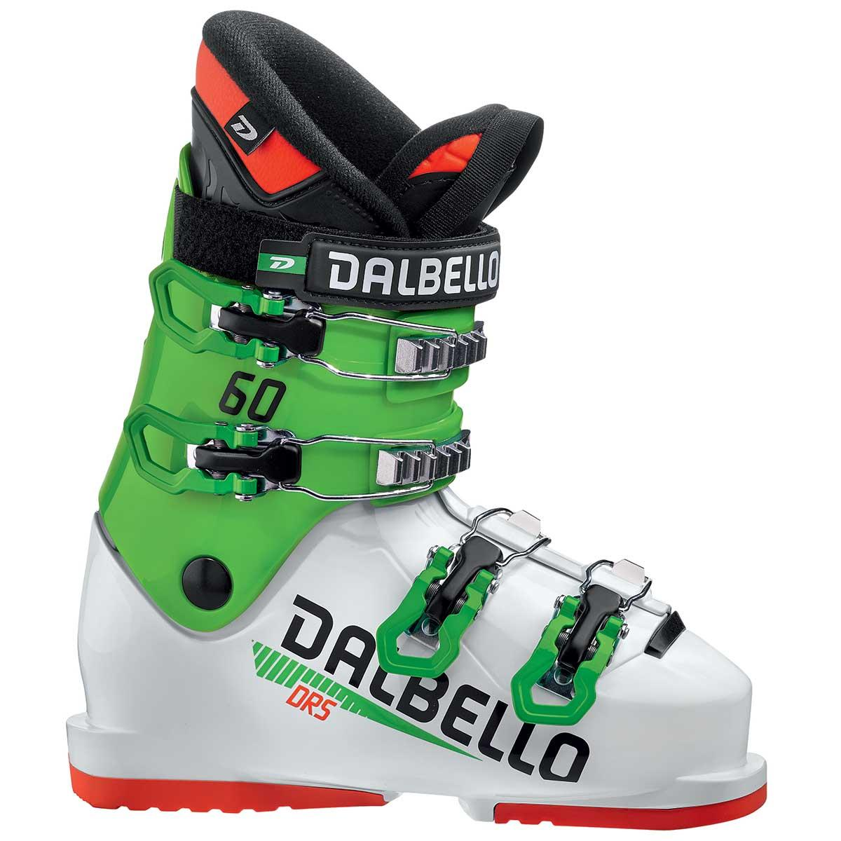 Dalbello DRS 60 junior race ski boot in white and race green