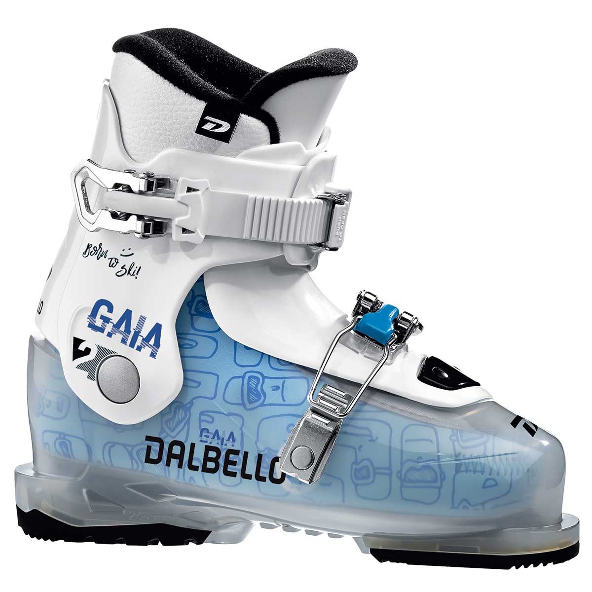 Dalbello Gaia 2 junior ski boot in trans white