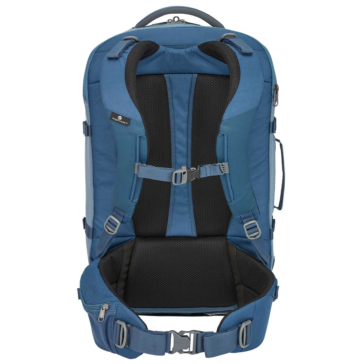 Back of Eagle Creek Global Companion 40L Backpack in Smokey Blue