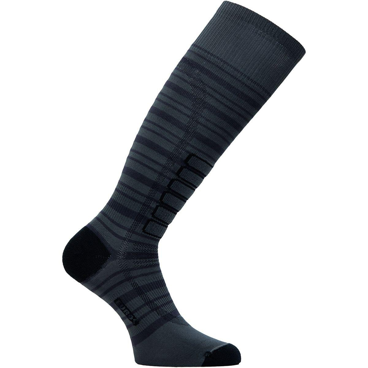 Eurosock Men's Silver Ski Light Sock in Charcoal and Black