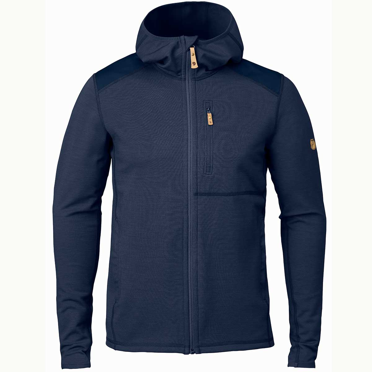 Fjallraven men's Keb Fleece Hoodie in Storm and Night Sky front view