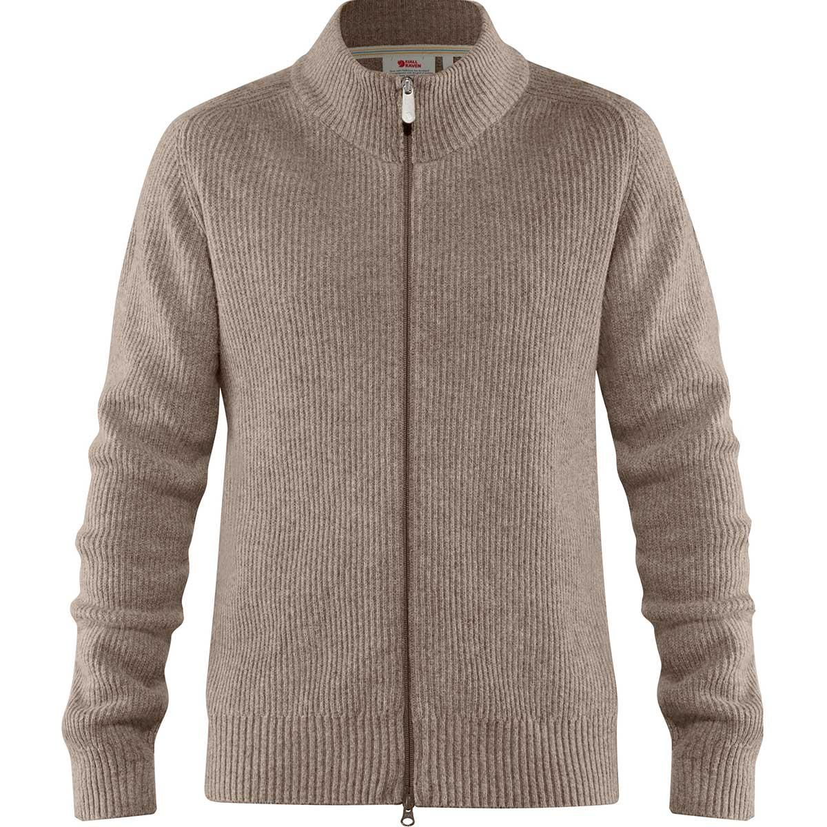 Fjallraven men's Greenland Re-Wool Cardigan in Driftwood front view