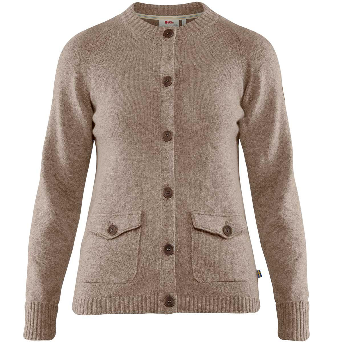 Fjallraven women's Greenland Re-Wool Cardigan in Driftwood front view