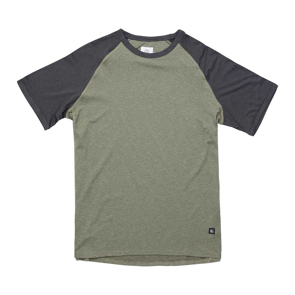 Flylow men's Nash T-shirt in Herb and Black, or light green body with black sleeves