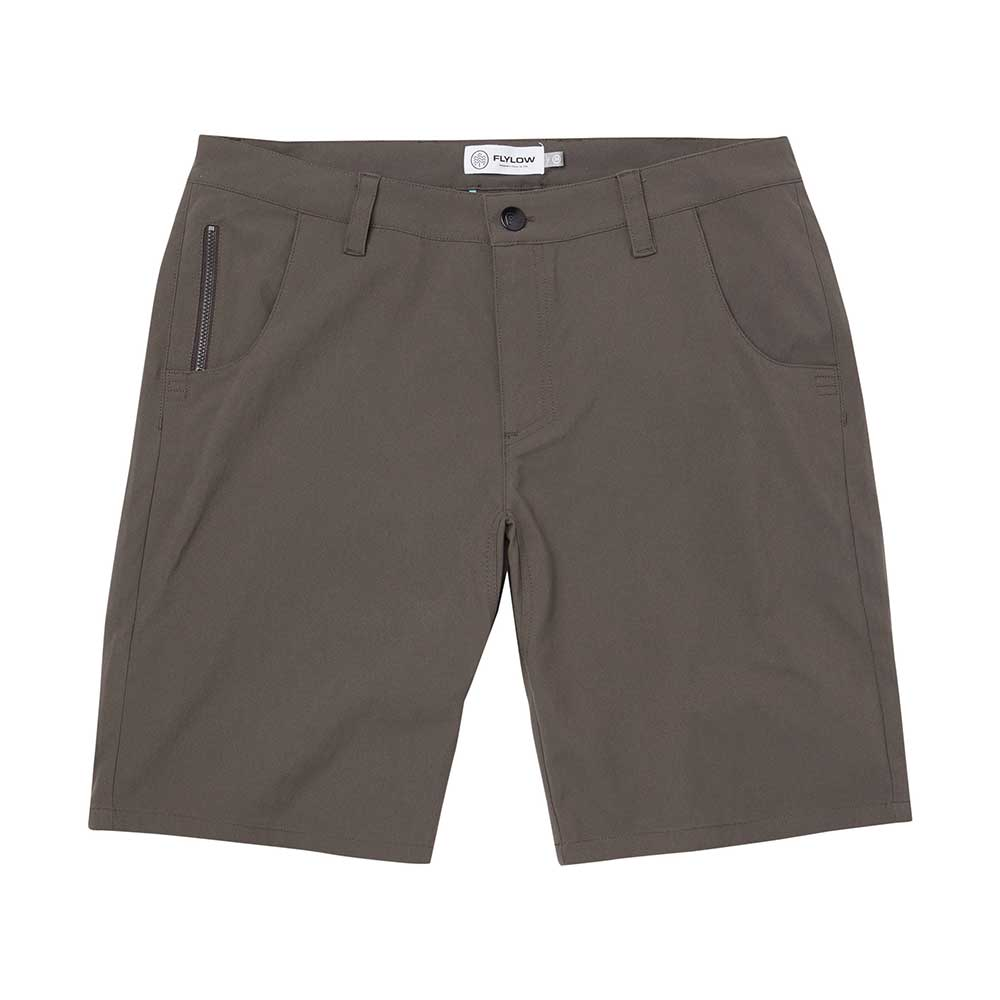 Flylow men's Hot Tub shorts in Stout, or dark brown
