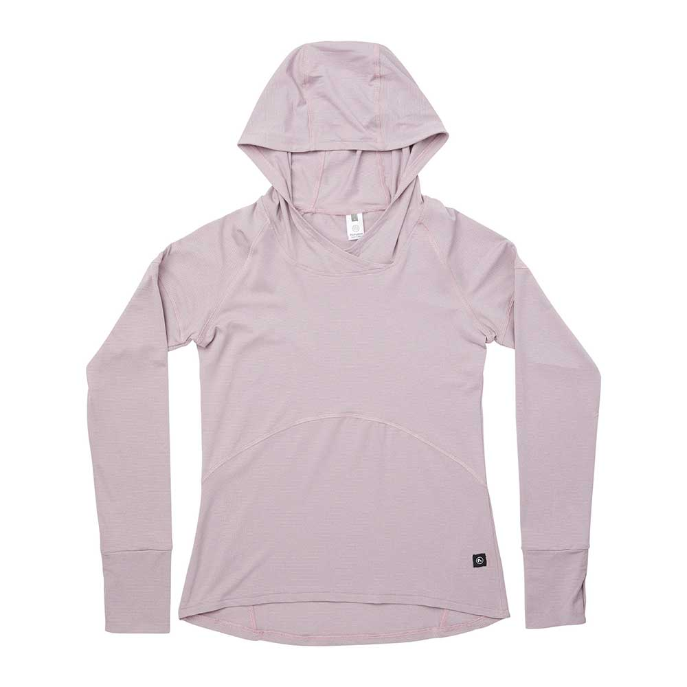 Flylow women's Moonlight sun-protection hoodie in Mystic, or light pink