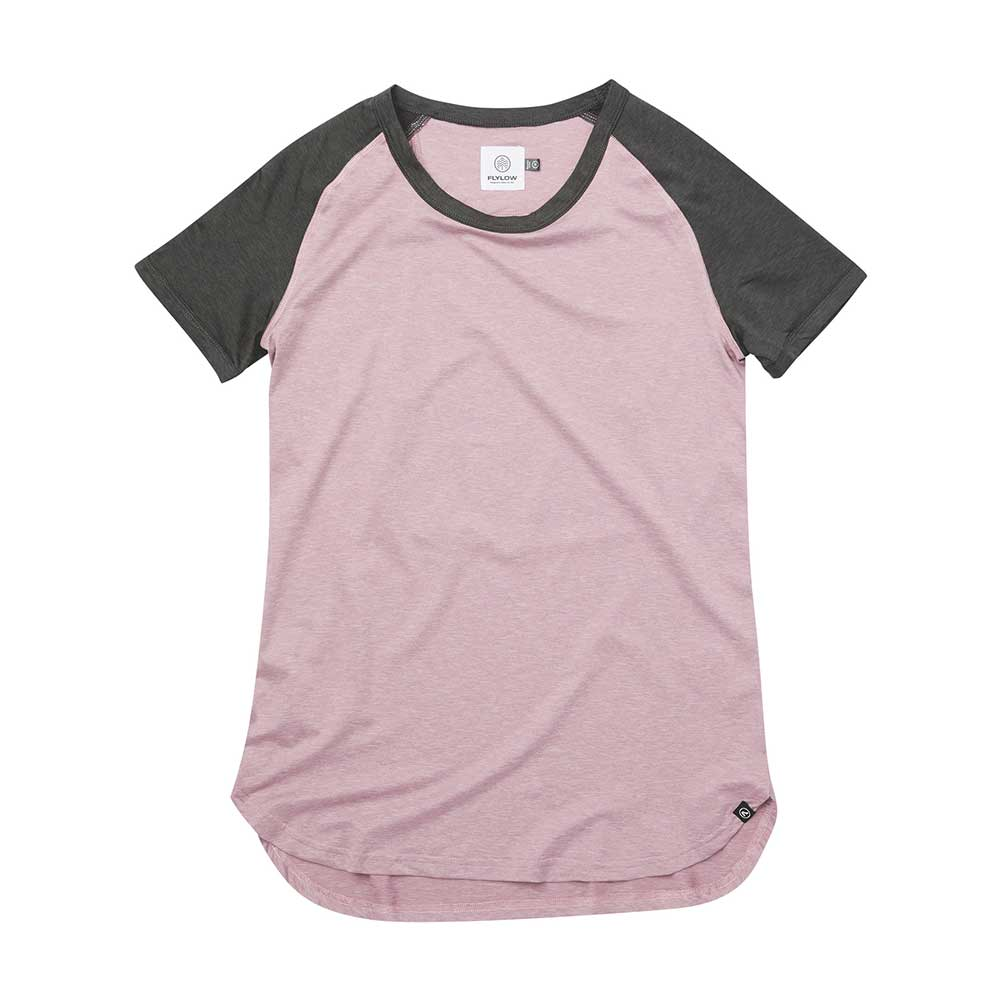 Flylow women's Jessi short-sleeved T-shirt in Mystic in Black, with light pink body and black sleeves