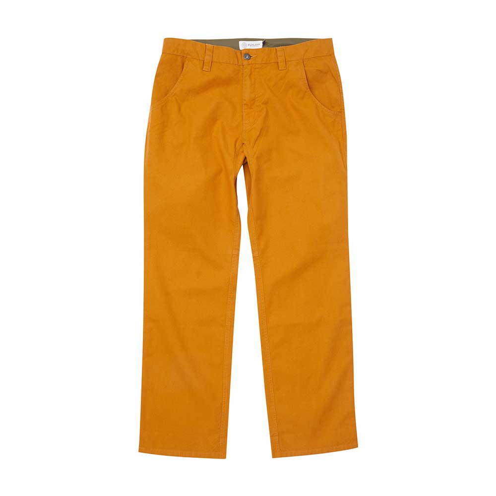 Flylow men's Ditch canvas pants in Maize, a mustard yellow