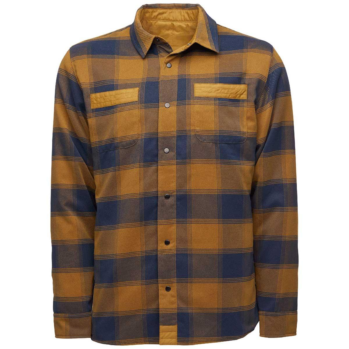 Flylow men's Sinclair Insulated Flannel in Rye and Midnight front view