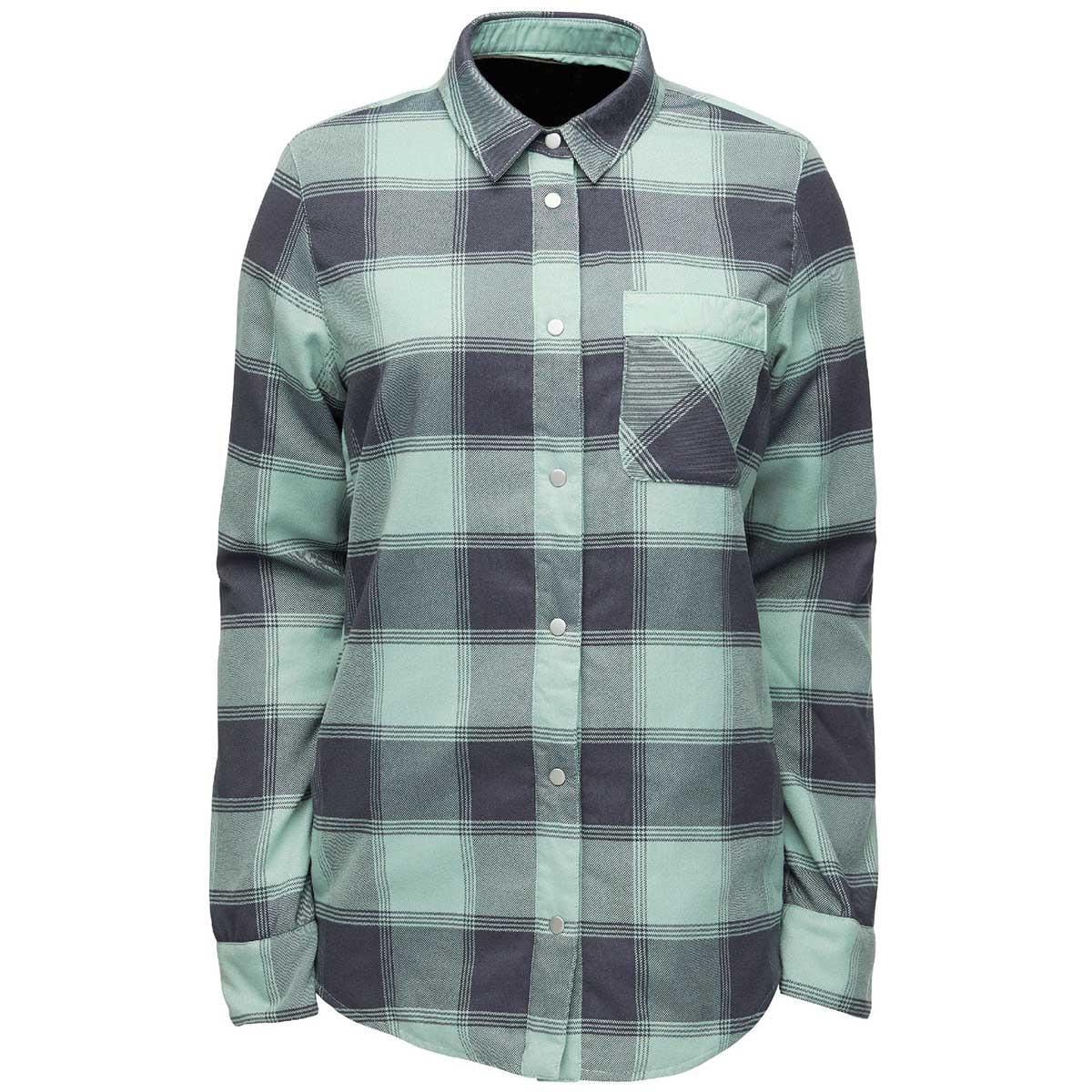 Flylow women's Penny Insulated Flannel in Nightfall and Willow front view