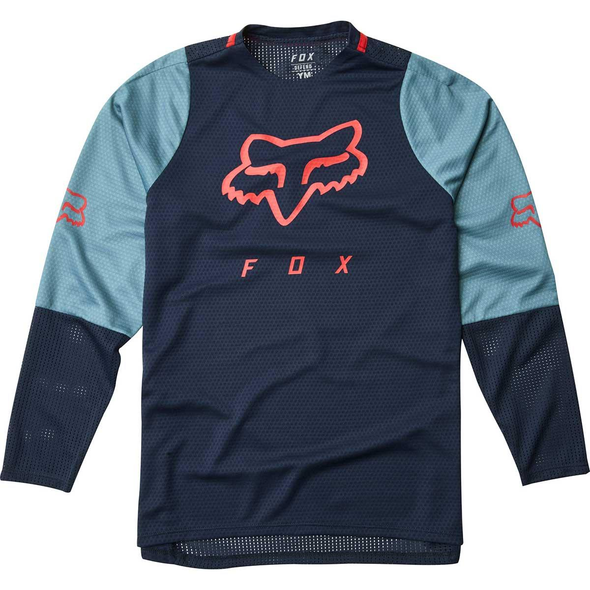 Fox kids' Defend Long Sleeve Jersey in Navy