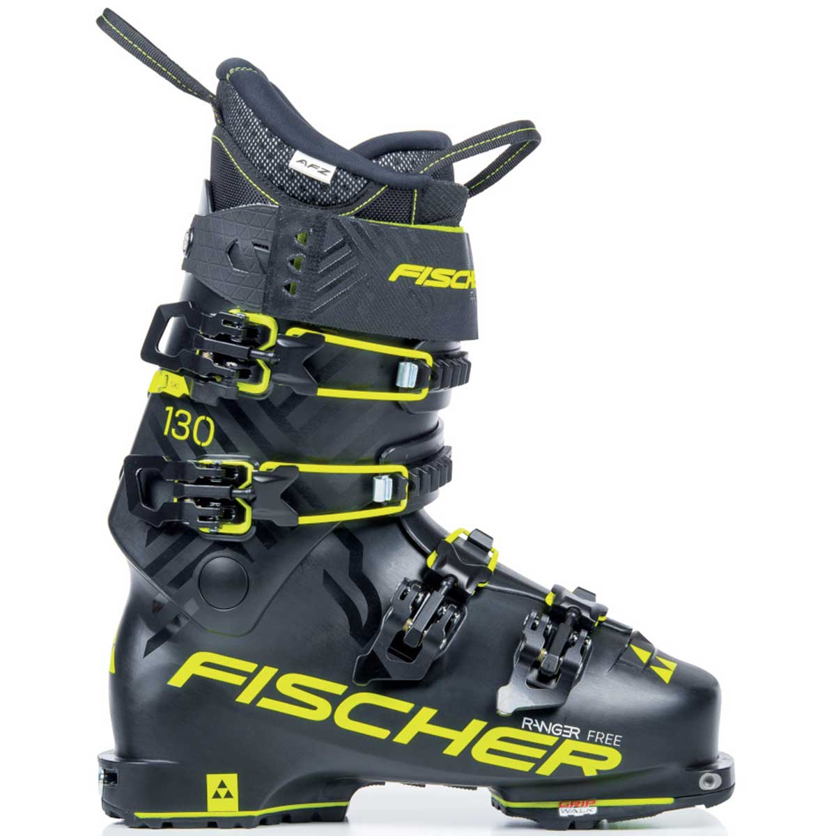 Fischer Ranger Free 130 ski boot in black and yellow