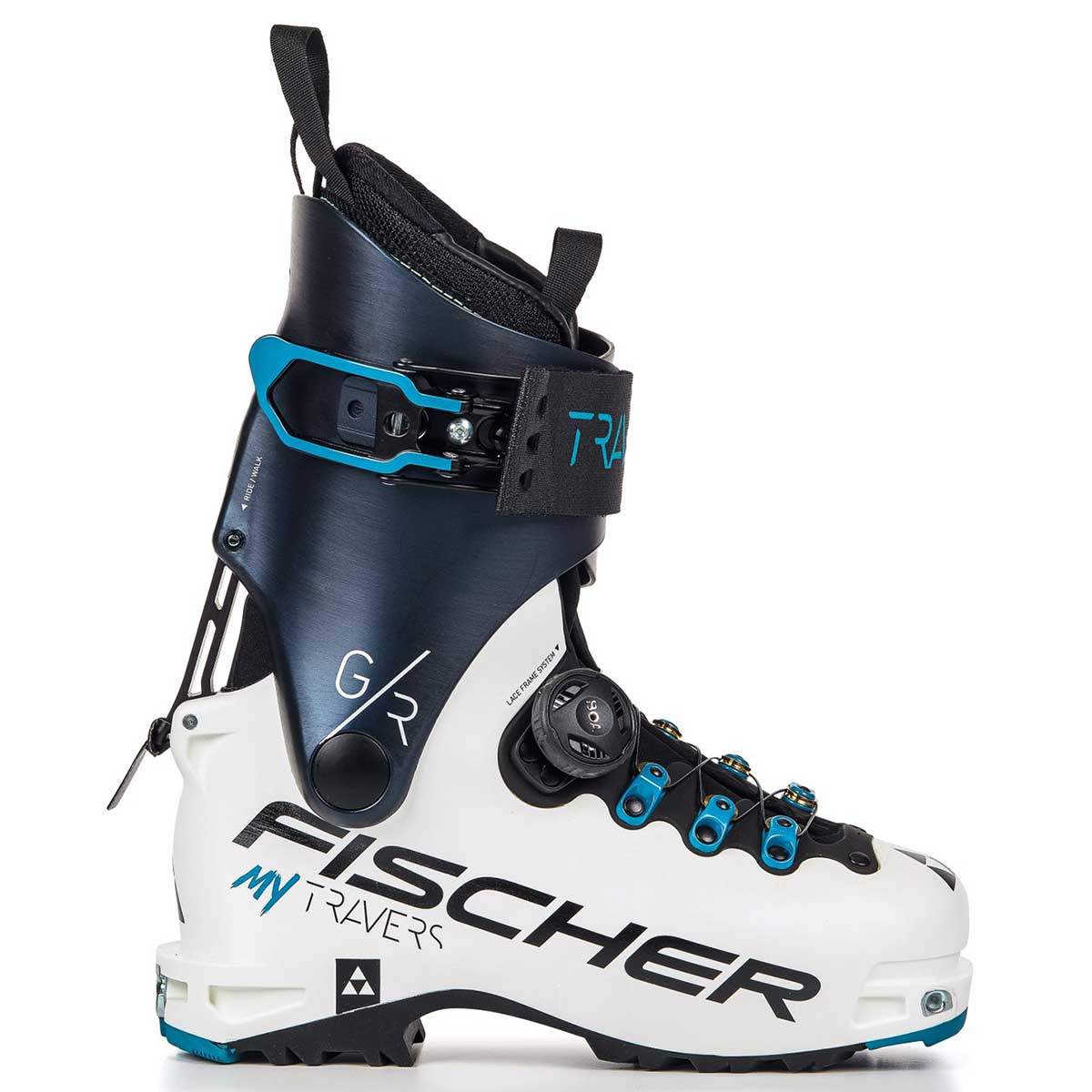 Fischer My Travers GR women's ski boot in white and blue