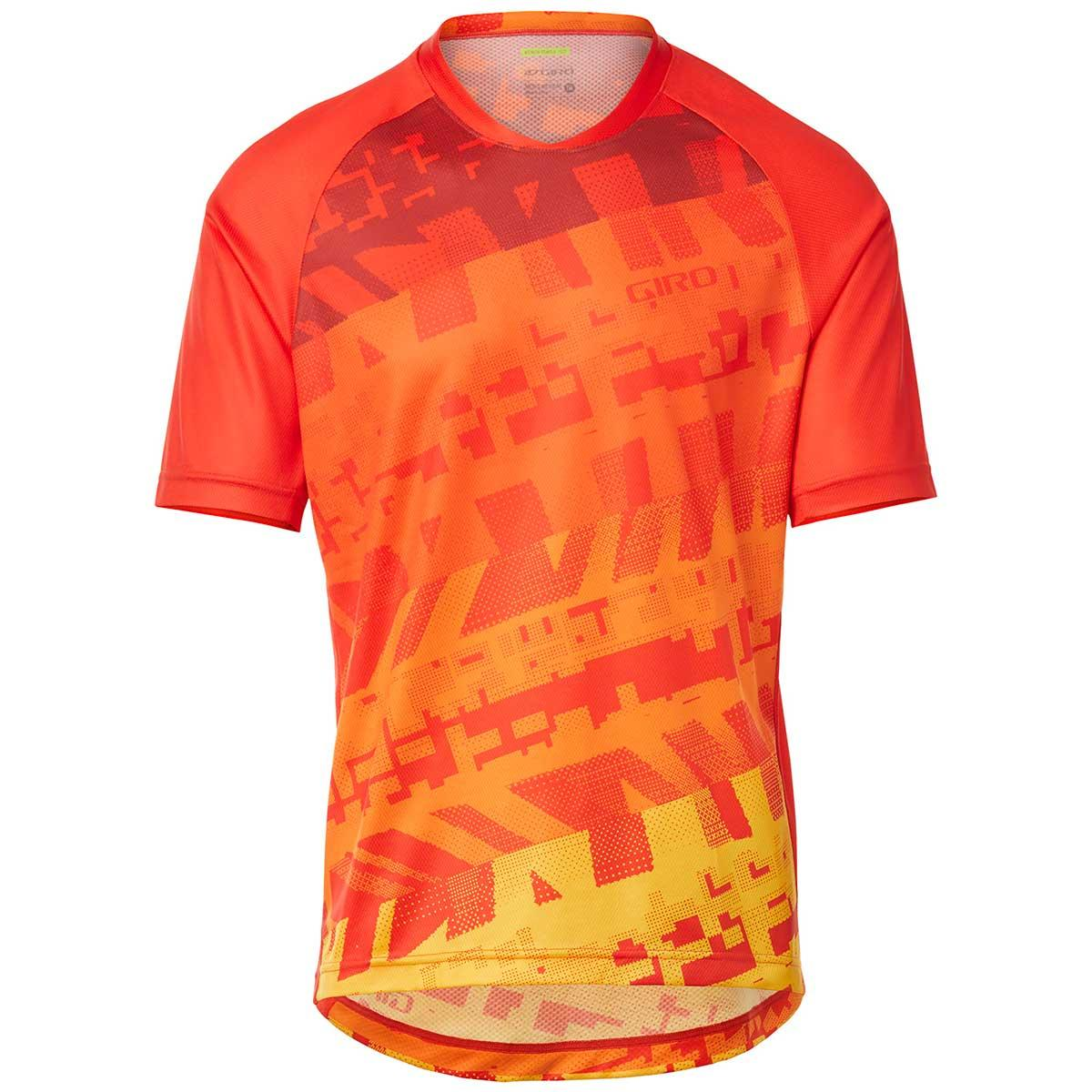 Giro men's Roust Jersey in Red Orange Fantastic front view