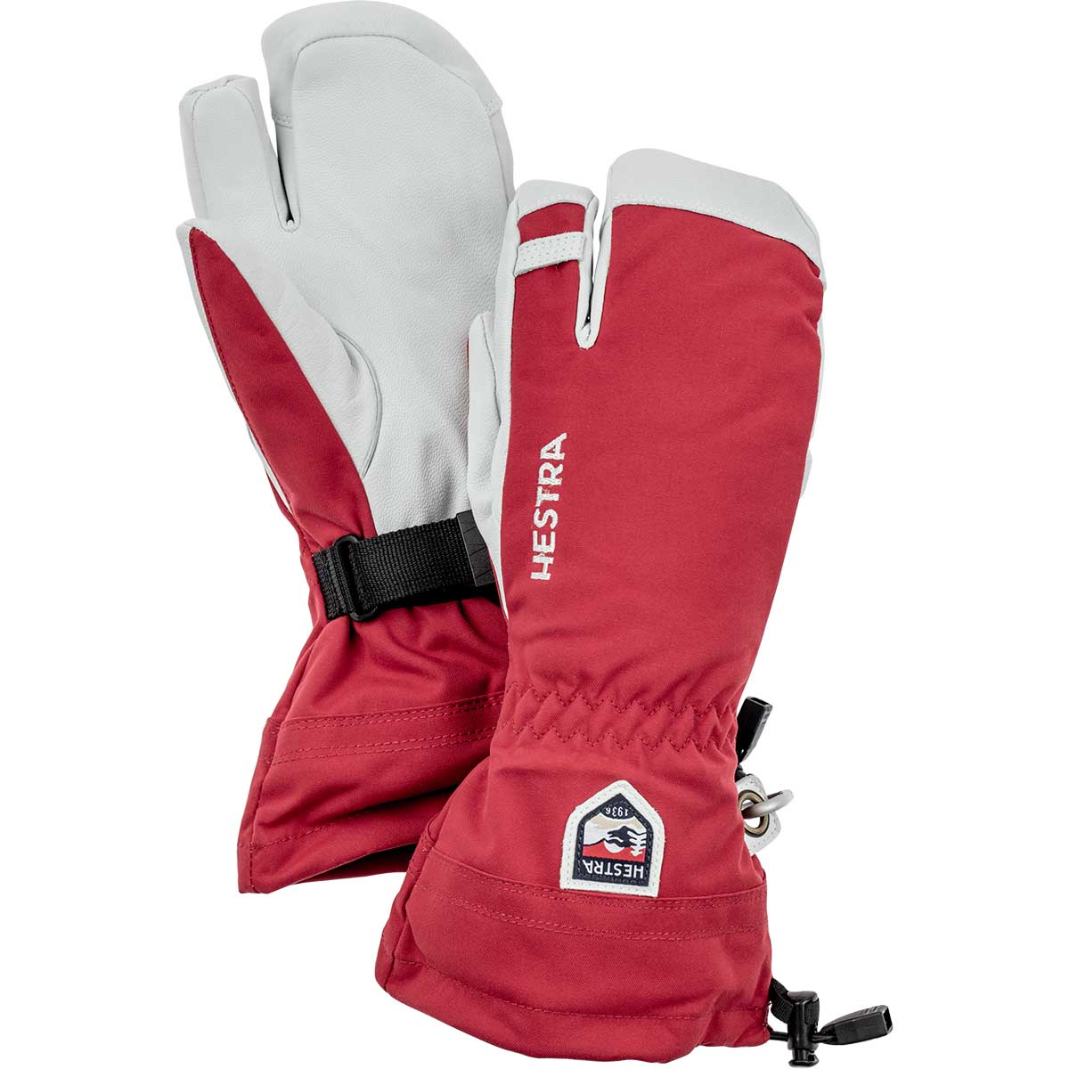 Hestra Army Leather Heli 3-Finger Glove in red