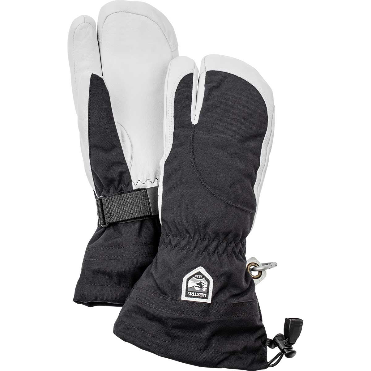 Hestra women's Heli Ski 3-Finger Glove in black and off white