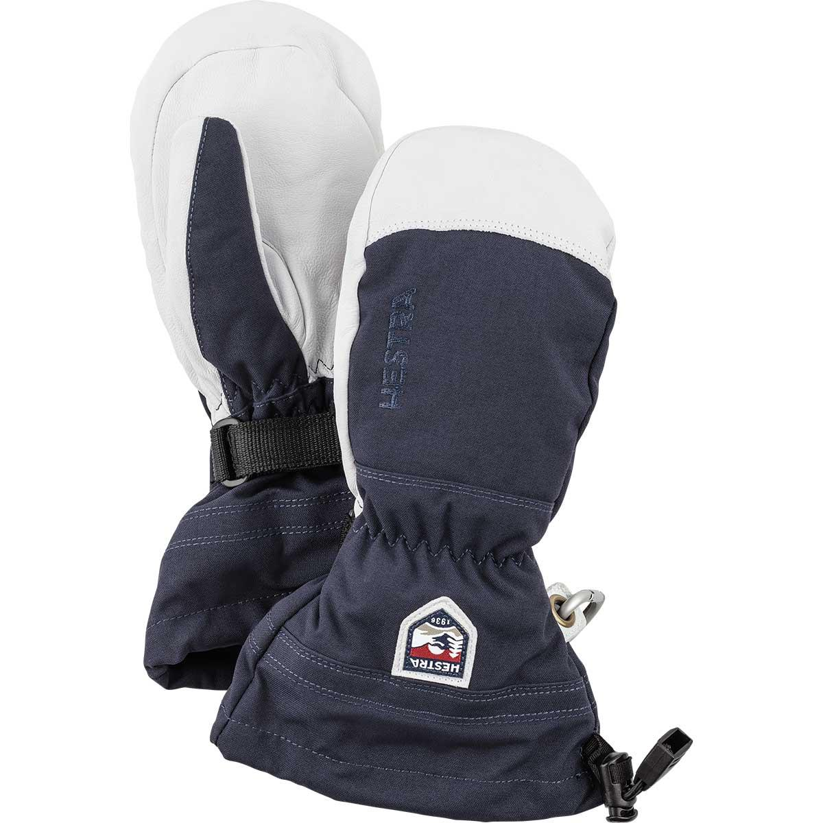 Hestra Junior Army Leather Heli Ski Mitt in navy