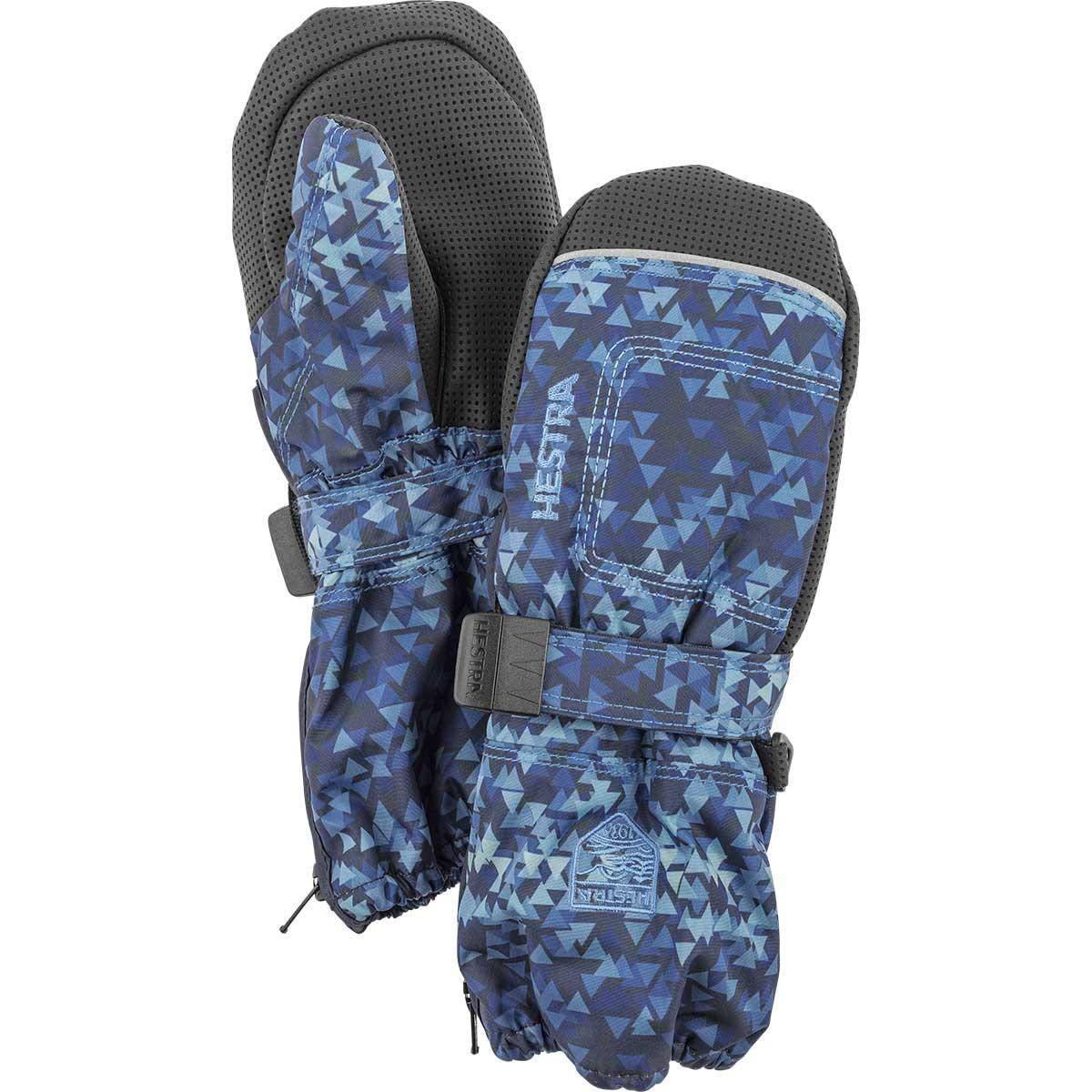 Hestra Baby Zip Long Mittens in navy print